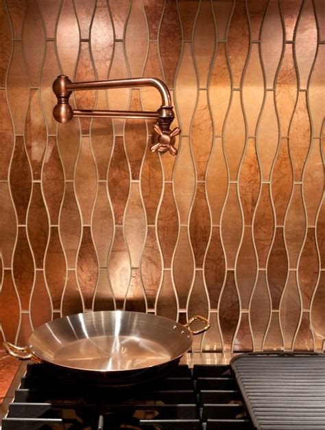 copper tiles for kitchen backsplash stunning copper backsplash for modern kitchens decozilla