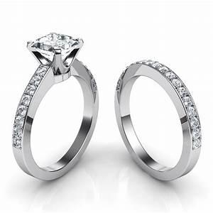 novo princess cut engagement ring and wedding band bridal set With wedding band then engagement ring