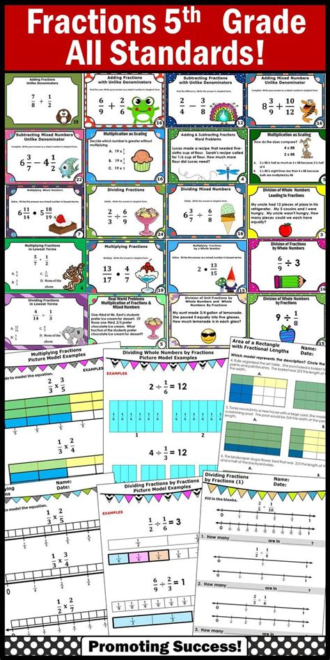 Fractions Bundle, 5th Grade Fractions Review, Common Core Math All Standards Dividing