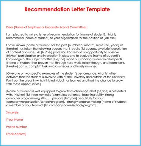 teacher recommendation letter  samples fromats