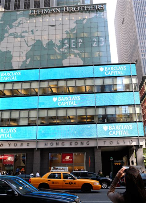 lehman brothers signs switched   barclays logos