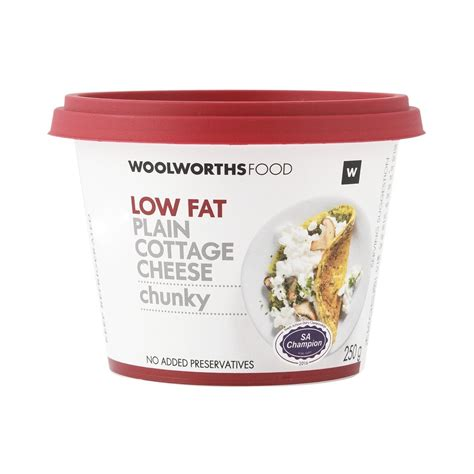 Low Fat Plain Chunky Cottage Cheese 250g Woolworthscoza