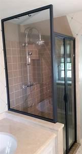 une verriere comme paroi de douche With porte de douche style verriere