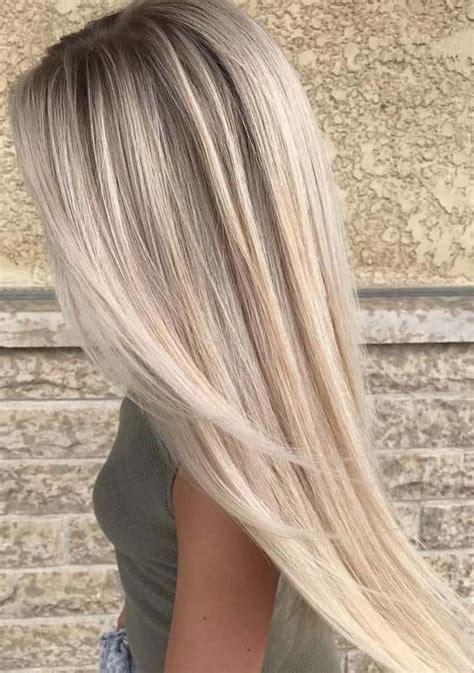 fresh platinum balayage hair colors  long straight hair