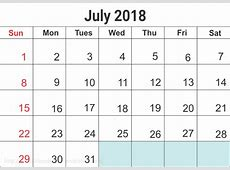 July 2018 Calendar Printable Templates Site Provides