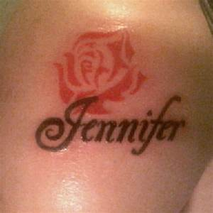 """Black """"Jennifer"""" name tattoo, with no outline red roseI"""