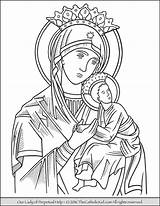 Coloring Mary Lady Perpetual Catholic Virgin Pages Help Guadalupe Mother Drawing Rosary Holy Coloriage Christian Drawings Fatima Sheets Jesus Adult sketch template