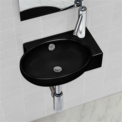 ceramic bathroom sink basin faucet overflow black