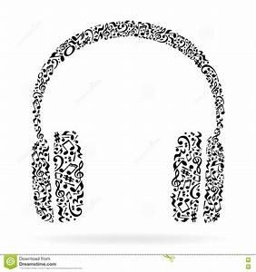 Music notes headphones. stock illustration. Illustration ...