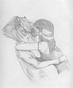 anime couple hugging by ijumpers on DeviantArt