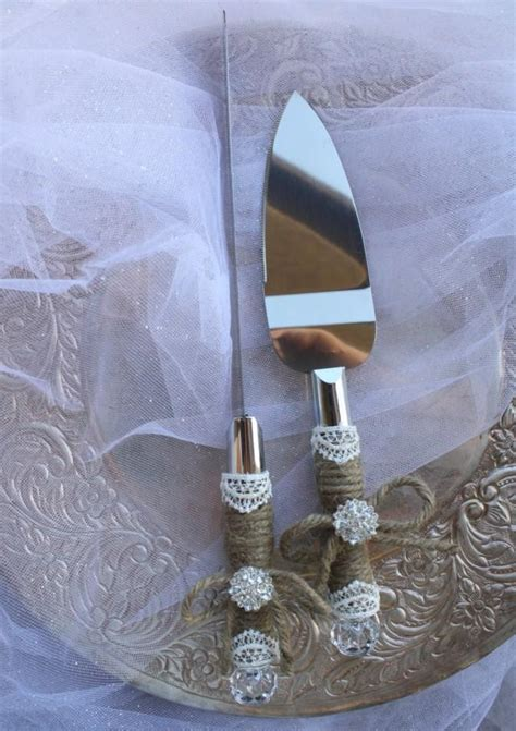 wedding cake server and knife set country rustic chic wedding cake server set jute and lace