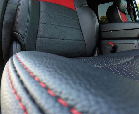 Black Leather Seat Covers With Red Stitching