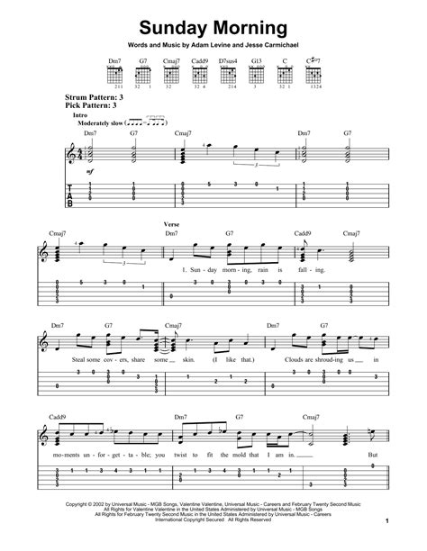 maroon 5 e chords tablature guitare sunday morning de maroon 5 tablature