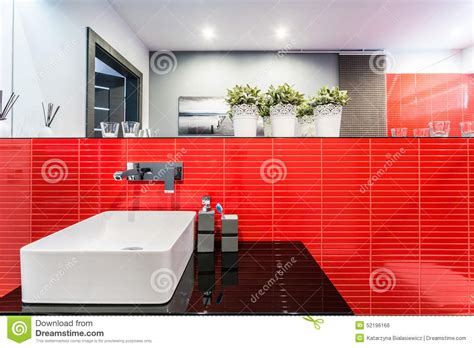 Bathroom Sink In Red Stock Photo-image