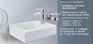 Mitigeur Lave Main Grohe : pack lave main rectangulaire grohe lavabo carre mitigeur vidage grohe tcbd ~ Nature-et-papiers.com Idées de Décoration