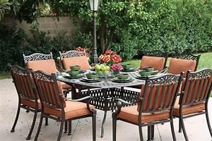Patio, Furniture, Dining, Set, Cast, Aluminum, 64, U0026quot, Square, Table, 9pc, Charleston