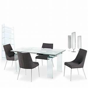 Table En Verre Rectangulaire : table design rectangulaire extensible en verre tania 4 pieds tables chaises et tabourets ~ Teatrodelosmanantiales.com Idées de Décoration