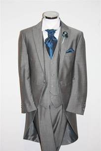 and groom cards light grey tails suit waistcoat blue cravat wedding