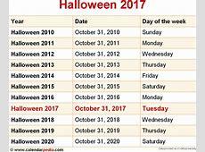 When is Halloween 2017 & 2018? Dates of Halloween