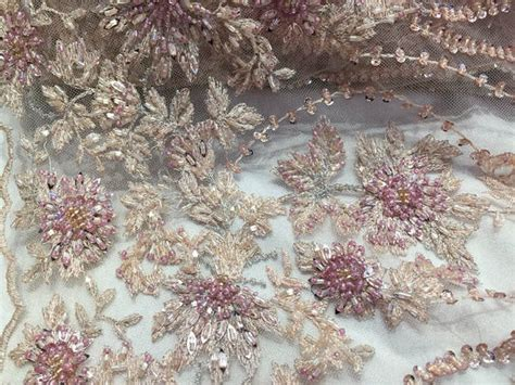beautiful silver embroidered heavy beaded lace fabric