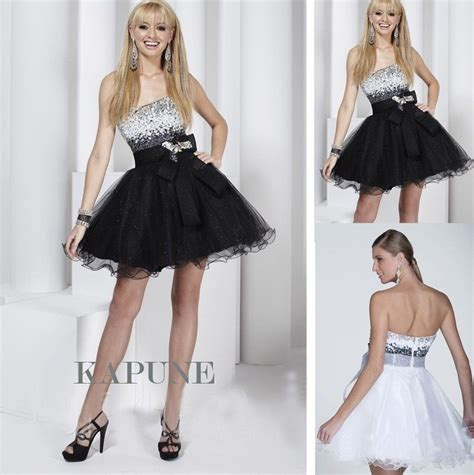 Sexy Mini Blackwhite Sequins Cocktail Party Prom Dresses