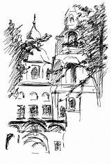 Monastery Drawing Paintingvalley Drawings sketch template