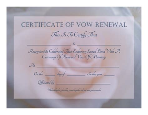 Vow Renewal Certificate Template by Free Graphics And Printables Trulytruly Net