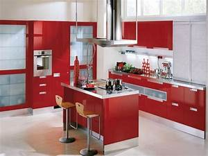 Red Painted Kitchen Cabinets : Amazing Value of Red ...