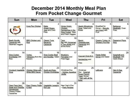 December Meal Planner Template by December Monthly Meal Plan 2014 Recipe Pocket Change Gourmet
