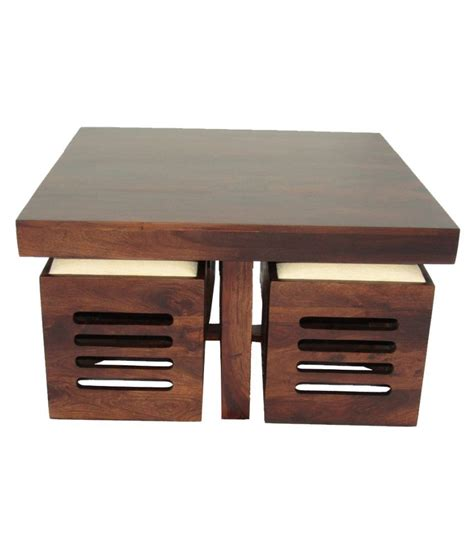 Stool Table by Woodfaber 4 Seater Coffee Table Stool Set Buy Woodfaber