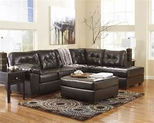 Alliston durablend chocolate right arm facing sectional for Brown leather sectional sofa ashley furniture