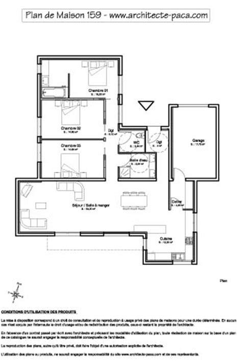 plan maison plain pied contemporaine 1 100e sans echelle