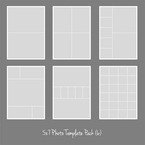 5x7 template pack collage photographers storyboard