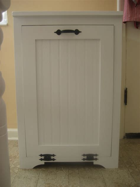 Wood Trash Cabinet white tilt out wood trash can cabinet diy projects