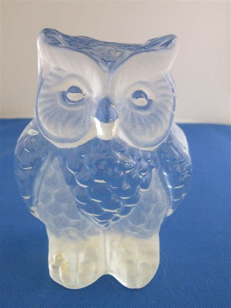 viking glass owl paperweight frosted  clear glass