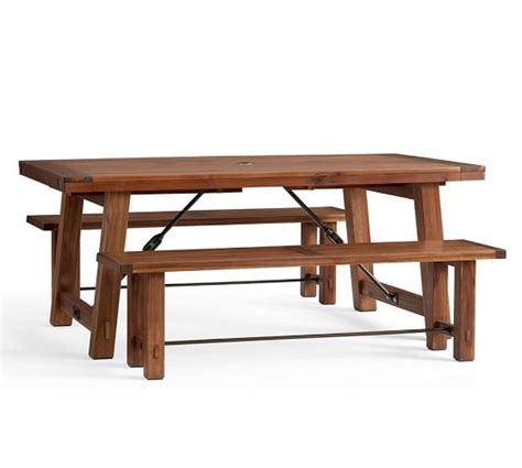 benchwright extending dining table bench set pottery barn
