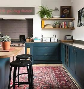 Mur Bleu Pétrole : 1001 id es pour am nager une cuisine campagne chic charmante ~ Melissatoandfro.com Idées de Décoration