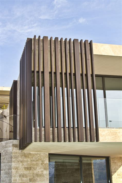 timber vertical fin cladding  contemporary house technowood