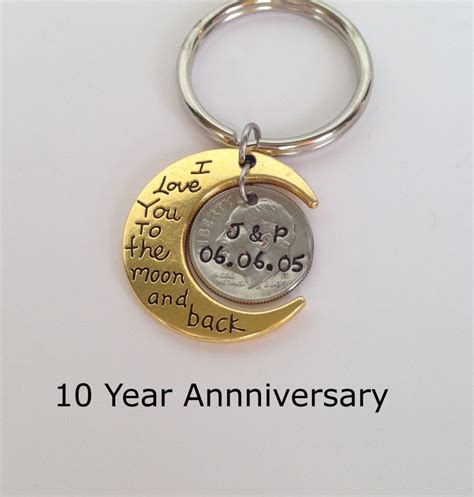 10 year anniversary gift 10 year anniversary keychain anniversary gift for men anniversary gift for husband gift for