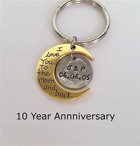 10 year anniversary keychain anniversary gift for men With 10 year wedding anniversary gifts for men