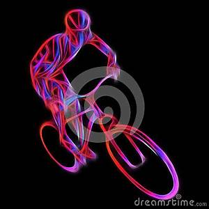 Cyclist In A Bike Race Color Illustration Stock