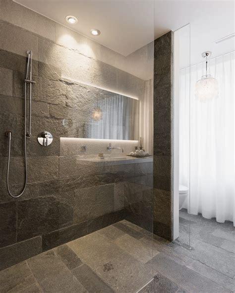 Bad Mit Begehbarer Dusche by Glastrennwand Eingelassen Im Naturstein Boden Im Bad Mit