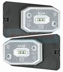 2x White Led Front Marker Light Lamp Ifor Williams Brian