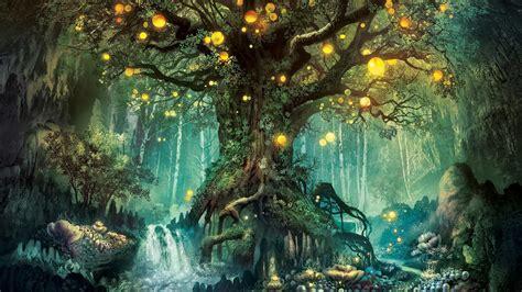 Roots Tree Glare Magic Forest Wallpaper Baltana