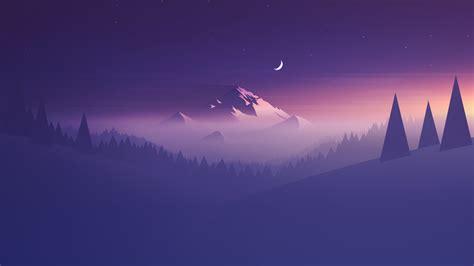 Wallpaper Mountain, Minimal, Half Moon, Hd, Creative