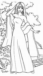 Barbie Doll Wear Gown and Scarf Coloring Page ...