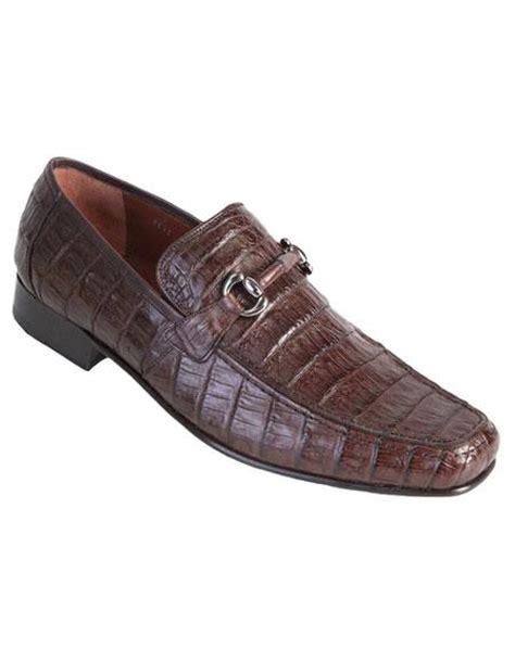 Los Altos Genuine Caiman Crocodile Belly Brown Dress Shoes