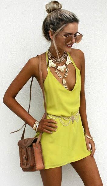 Dress yellow slip dress slip dress yellow dress summer dress summer outfits necklace ...