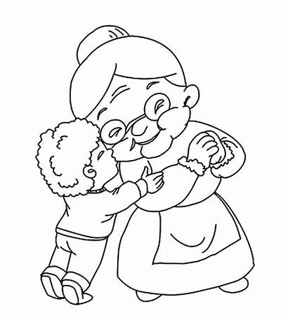Kiss Boy Grandmother Coloring Pages Drawing Grandparents