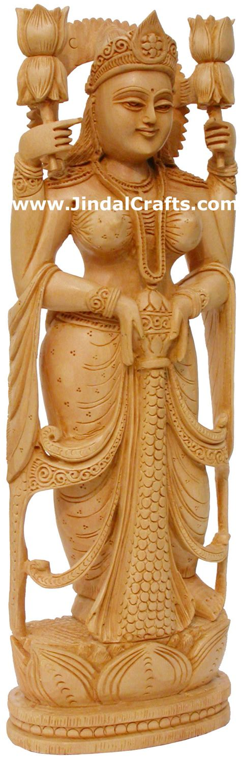 hindu deities goddess lakshmi india wood carving arts